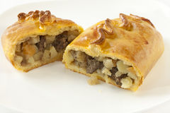 Cornish Pasty Cut in Halves Stock Photos