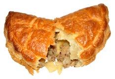 Cornish Pasty. A single Cornish pasty, isolated on a white background Stock Image