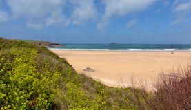 Cornish sandy beach Harlyn Bay North Cornwall England UK near Padstow and Newquay Stock Photo