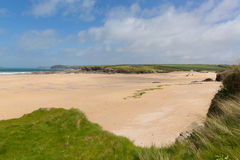 Cornish sandy beach Harlyn Bay North Cornwall England UK near Padstow and Newquay Royalty Free Stock Images