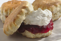 Cornish Scone with Cream and Jam. On a plate. The jam comes first in Cornwall Royalty Free Stock Photography