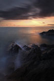 Cornish Seascape - Long Exposure of Sunset over the Ocean Stock Photos