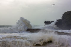 Cornish Storms 04. An Image of the Cornish storms battering the north coast of Cornwall, United Kingdom Royalty Free Stock Image
