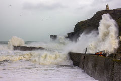 Cornish Storms 06. An Image of the Cornish storms battering the north coast of Cornwall, United Kingdom Royalty Free Stock Photo