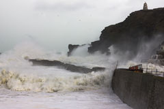 Cornish Storms 08. An Image of the Cornish storms battering the north coast of Cornwall, United Kingdom Stock Photo