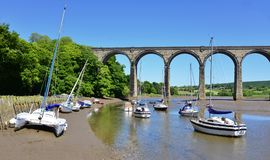 Cornish viaduct in St Germans. On a bright spring morning stock photos