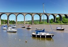 Cornish viaduct in St Germans. On a bright spring morning royalty free stock image