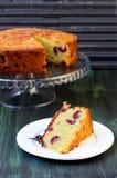 Cornmeal, almond cherry cake. Selective focus Royalty Free Stock Photos
