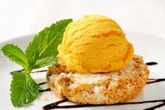 Cornmeal and almond cookie with ice cream Stock Photos