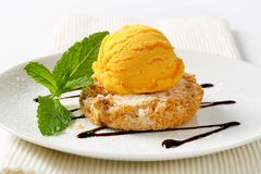 Cornmeal and almond cookie with ice cream Royalty Free Stock Image