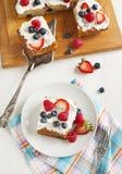 Cornmeal-berry sheet cake Stock Photo