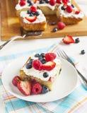 Cornmeal-berry sheet cake Stock Photos