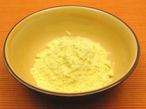 Cornmeal  in a bowl of ceramic Stock Photo