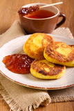 Cornmeal and cottage cheese fritters Royalty Free Stock Photo
