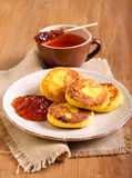 Cornmeal and cottage cheese fritters Stock Images