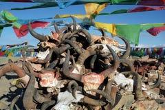 Corno delle bandiere e dei yak di preghiera con il mantra buddista principale scolpito fotografia stock libera da diritti