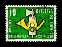 Corno di posta con i fasces, serie di mostra NABAG del bollo, circa 1959 Immagine Stock Libera da Diritti