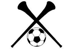 Corno di Vuvuzela ed isolamento della siluetta della sfera di calcio Fotografia Stock