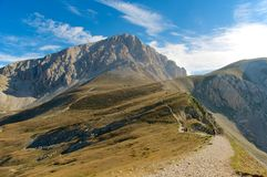 Corno Grande Gran Sasso high trail LAquila Italy. Corno Grande Gran Sasso view of the summit from the high trail. LAquila Italy royalty free stock images