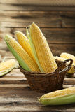 Corns in basket Stock Image