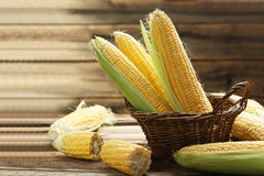 Corns in basket Stock Photo