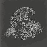 Cornucópia da ação de graças no estilo do esboço Cartão no fundo escuro ilustração stock