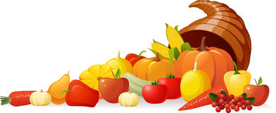 Cornucopia. With a set of different autumn vegetables and fruits Royalty Free Stock Photography