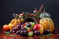 Cornucopia. Autumn cornucopia - symbol of food and abundance Royalty Free Stock Images