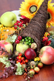 Cornucopia. Autumn cornucopia - symbol of food and abundance Royalty Free Stock Image