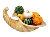 Cornucopia 3. A cornucopia filled with gourds Royalty Free Stock Photography