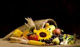 Cornucopia. A autumn horn of plenty. Cornucopia full of fruits and vegetables Stock Photos