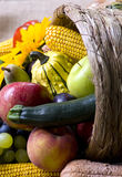 Cornucopia. A autumn horn of plenty. Cornucopia full of fruits and vegetables Stock Images