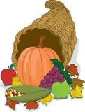Cornucopia. Full color vibrant illustration of a cornucopia full of harvested fruits and vegetables Stock Images