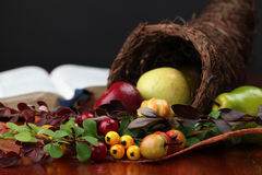 Cornucopia and the Bible. Thanksgiving arrangement with cornucopia and the Bible in background Royalty Free Stock Photography