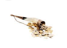 Cornucopia bone full of silver coin Royalty Free Stock Images