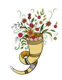 Cornucopia del otoño con las flores Imágenes de archivo libres de regalías