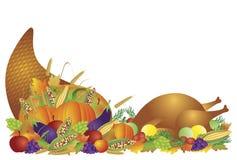 Cornucopia e la Turchia di festività di giorno di ringraziamento Immagini Stock Libere da Diritti