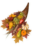 Cornucopia with fall harvest. Cornucopia filled with fall harvest spilling out of it's horn of plenty Royalty Free Stock Photography