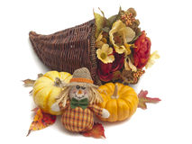 Cornucopia of flowers with pumpkins Stock Photography