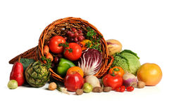 Cornucopia With Fresh Fruits and Vegetables Royalty Free Stock Image