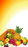 Cornucopia with fruit. Thanksgiving card. cornucopia with lots of fruit, fall out of the horns, whole and sliced. Vector graphics fruits background Royalty Free Stock Photography