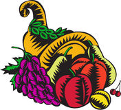 Cornucopia Fruit Harvest Woodcut Royalty Free Stock Image