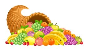 Cornucopia with fruits and berries Stock Photography