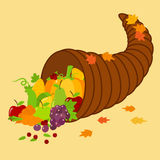 Cornucopia Full of Fresh Fruits and Vegetables Stock Images