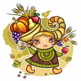 Cornucopia girl. Thanksgiving holiday theme: Happy cute girl wearing Cornucopia hat full of colorful fruits and vegetables Stock Image
