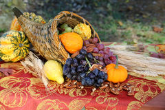 Cornucopia Harvest. A cornucopia overflows with the fruits of a fall harvest on an outdoor table full of autumn color. Seasonal, holiday concept Royalty Free Stock Photography
