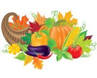 Cornucopia harvest. Cornucopia filled with fresh vegetables Royalty Free Stock Image