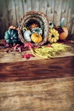 Cornucopia on Harvest Table Stock Photos