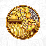 Cornucopia or horn of plenty engraving background Stock Photo