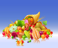 Cornucopia Illustration. Illustration depicting a heap of fruits and vegetables coming out of the cornucopia Royalty Free Stock Photos